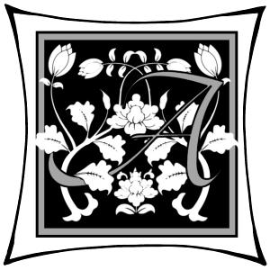 Ein A um dessen Arme Ranken geschlungen sind auf schwarzem Grund und mitgrauen graden Rahmen und darum noch ein weißer eckiger Rahmen.