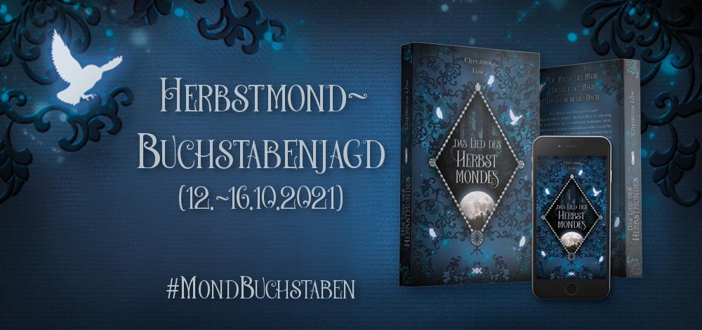 """Banner der Buchstabenjagd zu """"Das Lied des Herbstmondes"""" von Christina Löw"""